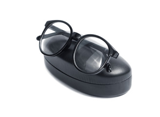 Glasses and case isolated against a white background