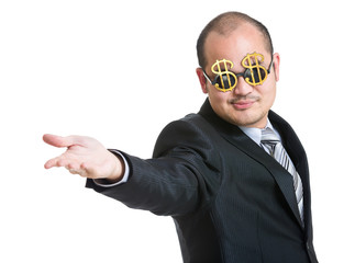 Happy businessman open hand plam to front