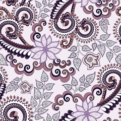ornate pattern in lilac and brown shades