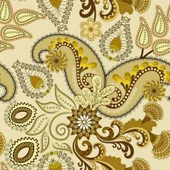 paisley dark khaki color on a beige background