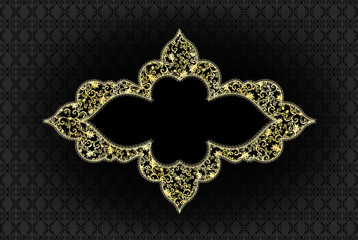 yellow curly frame with filigree pattern on a black background
