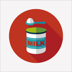Powdered milk dairy food flat icon with long shadow,eps 10