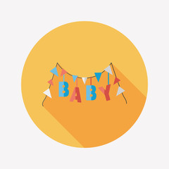 BABY party flat icon with long shadow,eps 10