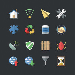 Internet & Communication icons set with Flat color style
