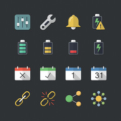 Application & Mobile icons set with Flat color style