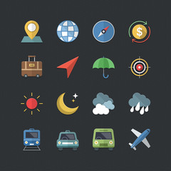 Travel & Business icons set with Flat color style