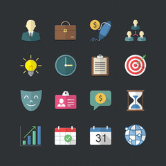 Business management icons set with Flat color style