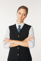 Stewardess gegen weißen Hintergrund