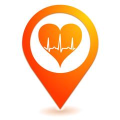 rythme cardiaque sur symbole localisation orange