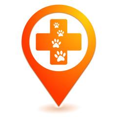 vétérinaire sur symbole localisation orange