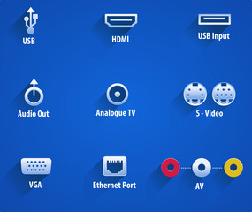 usb, hdmi, audio, analouge, s-video, vga, Ethernet video ports