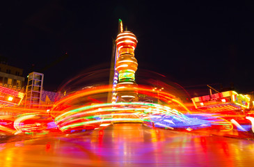 Funfiar ride at night, long exposure.