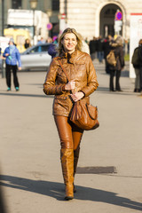 woman walking in the city, Vienna, Austria