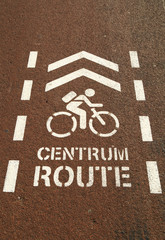 Bicycle sign for the city center on a red bicycle lane.