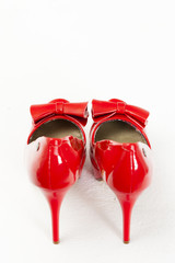 fashionable red pumps