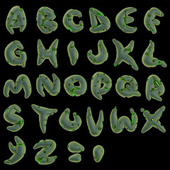 3d horror virus green alphabet on black
