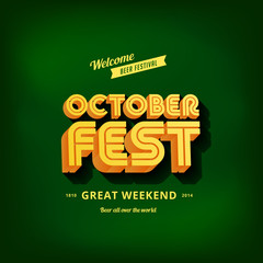 Octoberfest festival typography vintage retro style vector