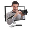 photographer in the computer monitor