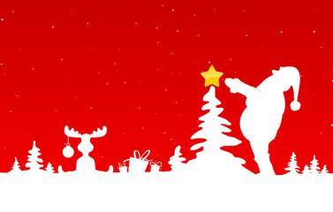 Weihnachtskarte Weihnachtsmann schückt Baum