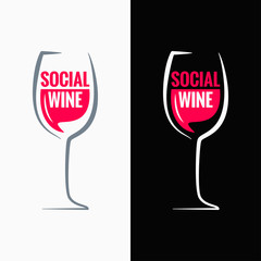wine glass social media concept background