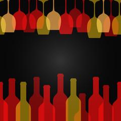 wine glass bottle art design background