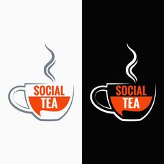 tea cup social media concept background