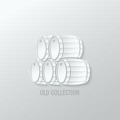 wine barrel paper cut design background