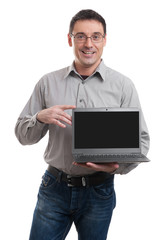 young man advertising laptop