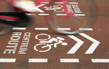 Bicycle riding over a bicycle sign for the city center