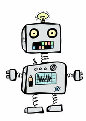 doodle funny robot