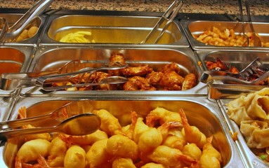 meat and fish within the self service restaurant