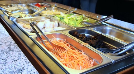 serving tray with vegetables in the restaurant during the pause