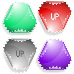 Up. Vector sticker.
