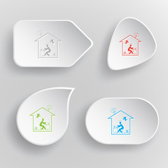 Home inspiration. White flat vector buttons on gray background.