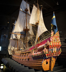 A 1:10 scale model of the warship at the Vasa Museum