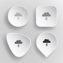 Storm. White flat vector buttons on gray background.