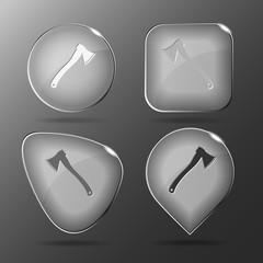 Axe. Glass buttons. Vector illustration.