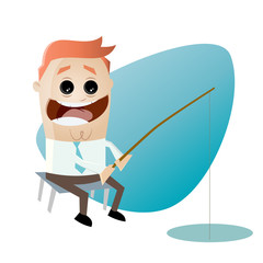 angeln fischen cartoon mann business