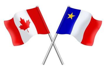 Drapeaux: Canada et Acadie