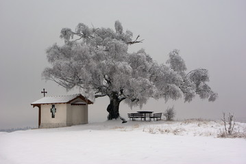 Monastery in the snow