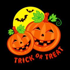 Funny pumpkins under full moon with bats