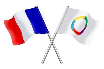 Drapeaux: France et Francophonie