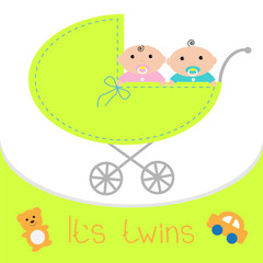 Baby carriage It's twins boy girl. Shower card Flat