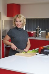 Woman preparing healthy dinner
