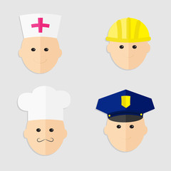 Professions man head set Policeman chef  worker doctor Flat
