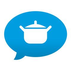 Etiqueta tipo app azul comentario simbolo cacerola