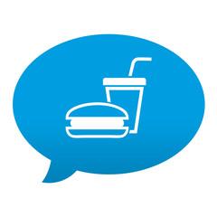 Etiqueta tipo app azul comentario simbolo fast food