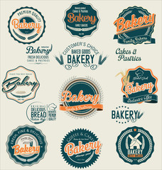 Bakery retro labels collection