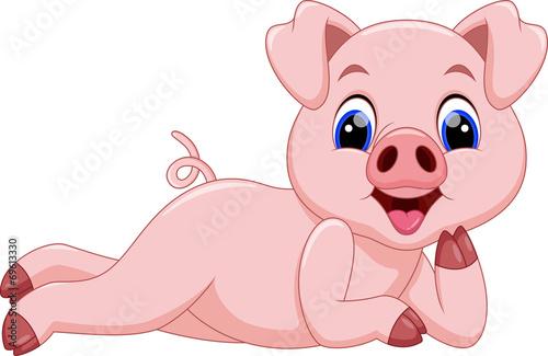 Cute pig cartoon - 69613330