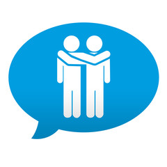 Etiqueta tipo app azul comentario simbolo amistad